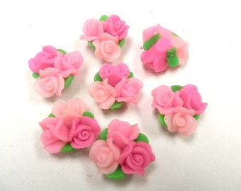 10 Fimo Polymer Clay Pink Flower Fimo Beads Bouquet  25mm
