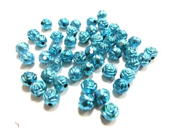 New 25 Rose Flower Metallic Acrylic light blue beads 6mm