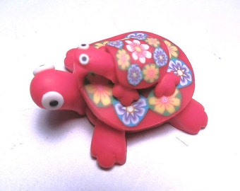 New Fimo Polymer Clay Red Turtle w/ Baby Turtle Figurine Refrigerator Magnet