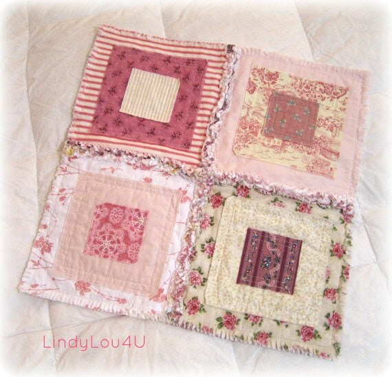 Pet Blanket - Pet Quilt -Shabby Chic Mini Quilt - Home Decor - Gladdy Tatty Mini - Pink Cream White Tones - Ready to Ship