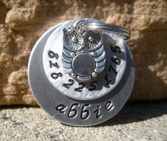 The Abbie (#074) - Owl Pet ID Tag Dog Tag Hand-Stamped Monochromatic Silver Layered Tag