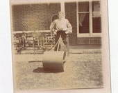 Bowled Over by a Lawn Roller -  A Woman's Work is Never Done -  original early photo ca 1910