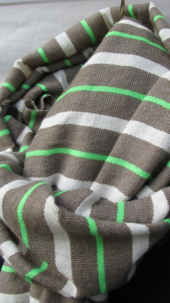 Scarf, The BIKER Scarf- Men Women Cotton Wool Khaki & Neon Stripe Scarf- Bellabisinia- Ethiopian Scarf Khaki Neon White Stripe