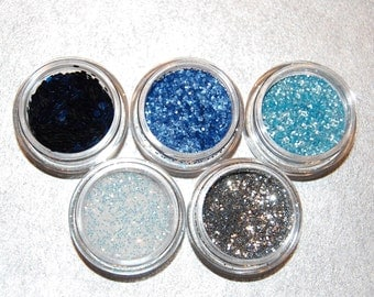 Blue and Silver Glitters, Solvent Resistant, Set of Five Glitters, Metallic Glitters, Blue Glitter, Silver Glitter, Glitter Set, Nail Art