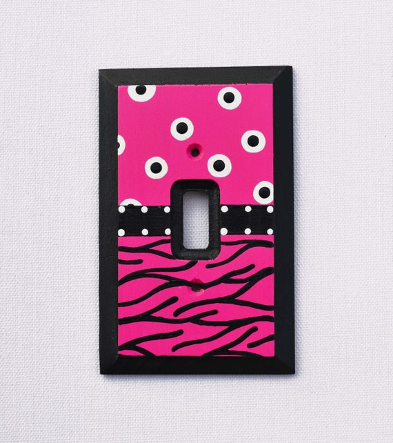 Zebra Print and Polka Dots Switch Plate, Light Switch Cover