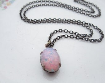 Vintage Opal Necklace Opal Jewelry Pink Opal Necklace Fire Opal Necklace Vintage Wedding Jewelry - Gift Idea