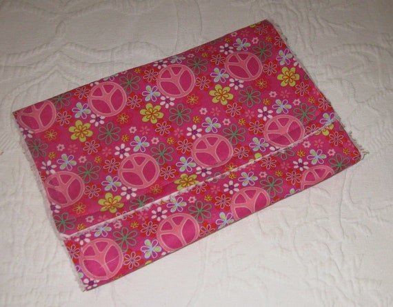 SALE   Chenille   Burp Cloth  Peace Signs Pink  and Retro Flowers  - Ready to Ship