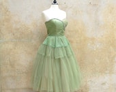 Celery green 50s cocktail prom wedding party dress - tulle organza and satin strapless tea length 1950s dress- medium/large