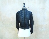 Antique romantic Edwardian / Victorian blouse - early 1900s sheer black embroidered pouter pigeon shirt - medium