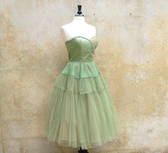 Celery Green 50s Cocktail Prom Wedding Party By