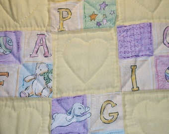 Pastel baby quilt, hand-quilted