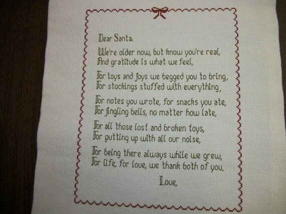Letter to Santa, personalized, counted cross-stitch