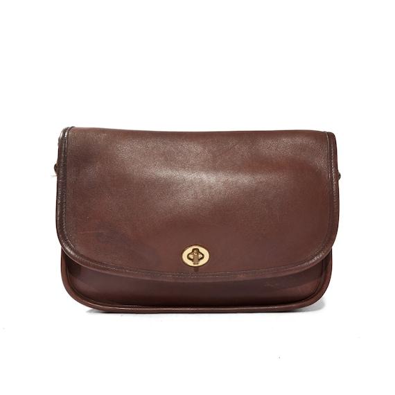 Women's Vintage Coach Purse Brown Leather Shoulder Bag Rectangle Shape