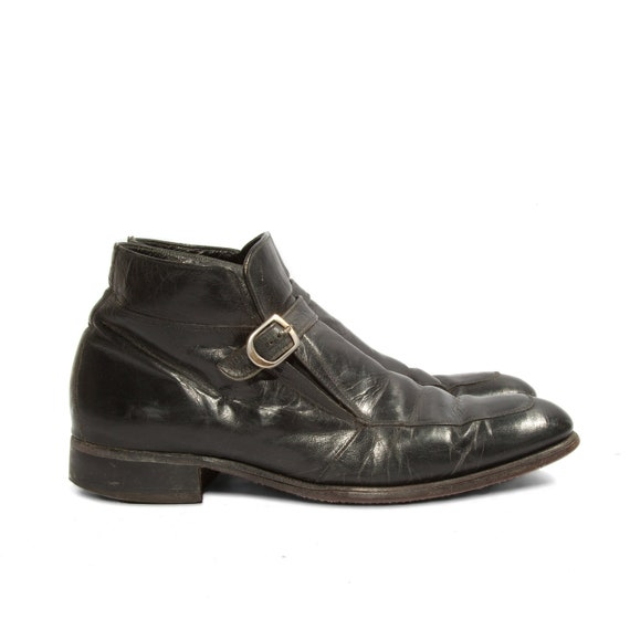Vintage Florsheim Imperial Boots Monk Strap Ankle Styled in Black for a Men's Size 9 C