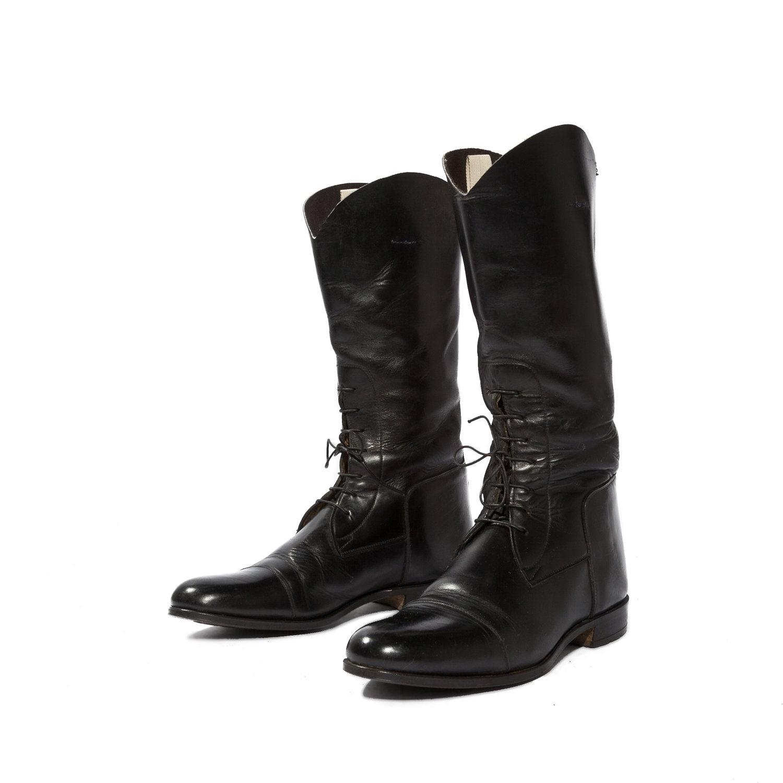 Vintage Highway Patrol Police Motorcycle Boots Black Leather