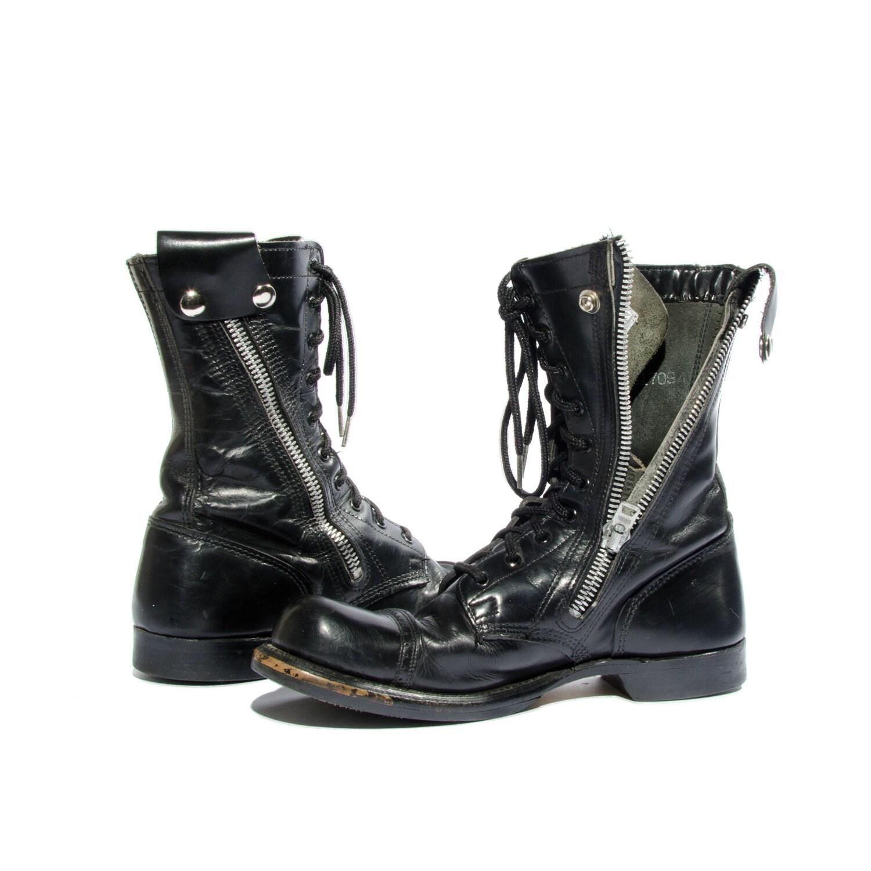 Vintage Bates Combat Boots Military Gear Zipper Sides Cap Toe