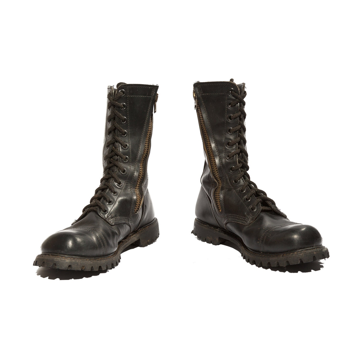 Vintage Combat Boots With Zippered Sides In Black Leather