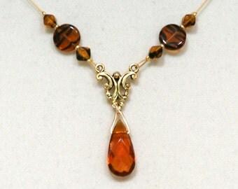 Elegant Amber Tortoise glass Teardrop Dangle Necklace Gold