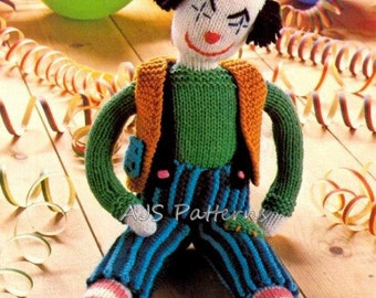 PDF Knitting Pattern for a Clown Soft Toy with Removable Clothes