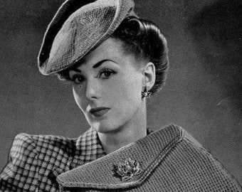 PDF Knitting Pattern for a 1940s Beret and Matching Clutch Bag -Instant Download