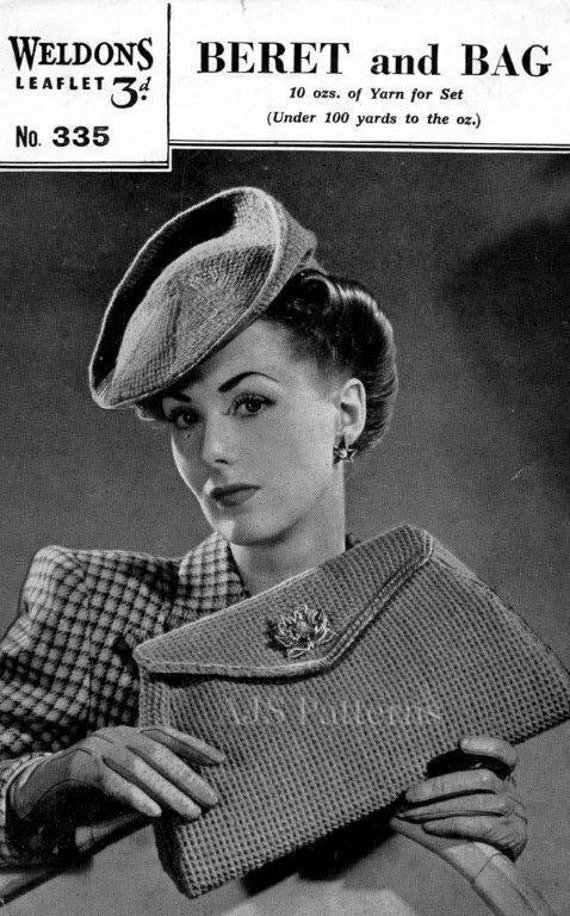 PDF Knitting Pattern for a 1940s Beret and Matching Clutch Bag