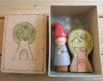 Wood Toy Set-Mini Peg Doll Gnome-Tree Habitat-HOME is WHERE the HEART Is-In Box