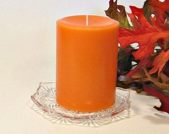 Pillar candle tangerine scent 3x4 paraffin