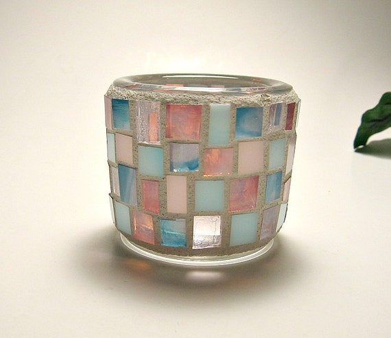 Stained glass mosaic tealight candle holder pink aqua