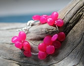 Hot Pink large stone Chalcedony and Sterling Bracelet