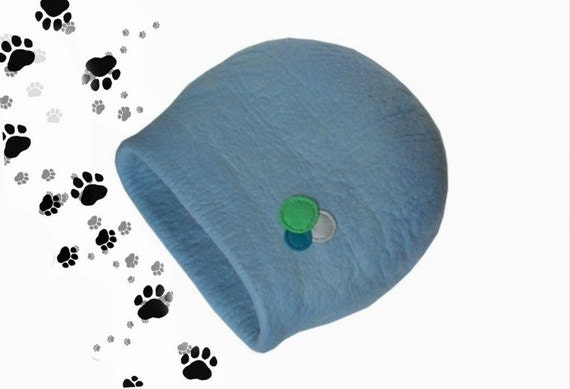 Cat bed cat cave cat house  felted wool blue