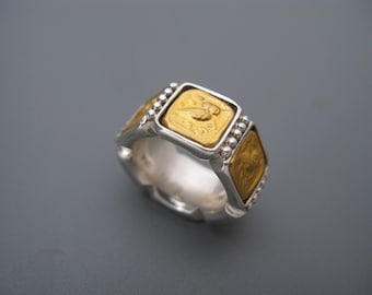Owls - ring of pure gold repoussee on sterling silver.