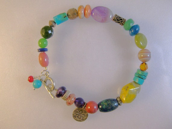 Gemstone and sterling silver celebration bracelet 1: charity donation