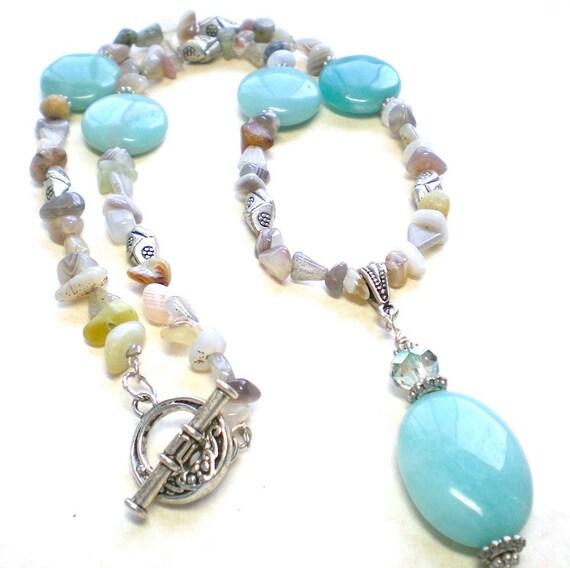Amazonite Beaded Pendant Necklace, Gemstone Necklace, Statement Necklace