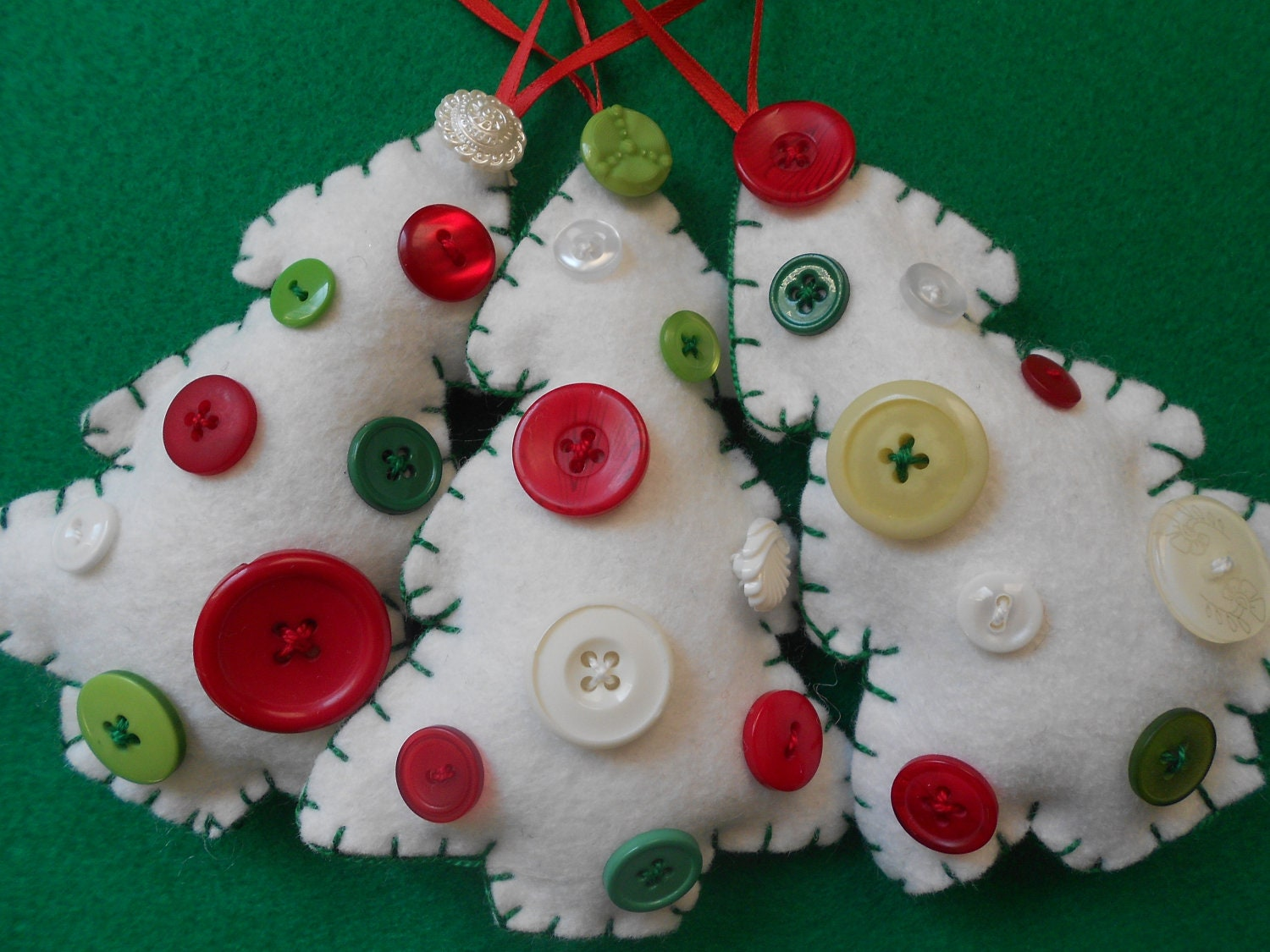 White felt and button Christmas tree ornaments