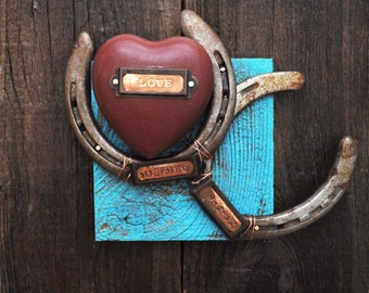 Personalized wedding gift,  horseshoe western wedding and western decor, western wall art