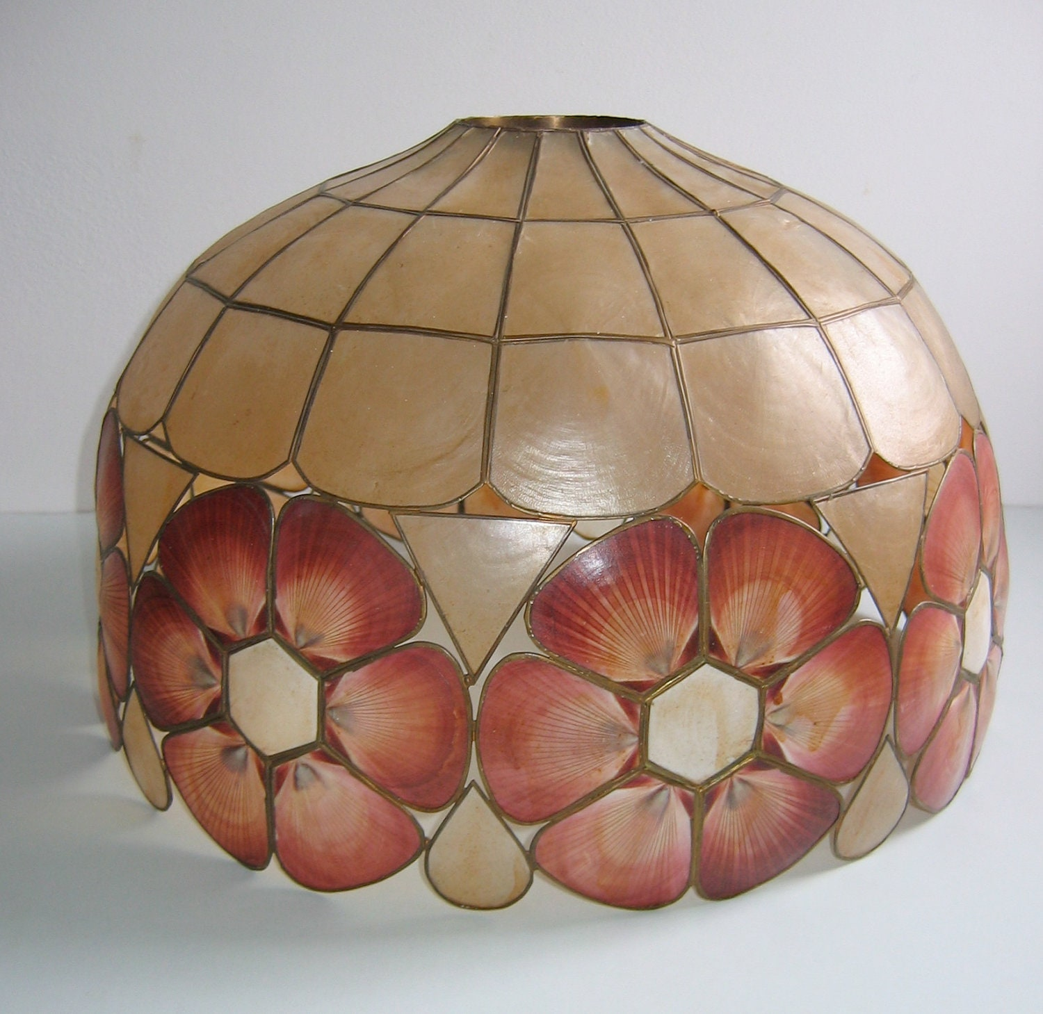 Vintage Capiz Shell Shade For Regular Or Hanging Swag Lamp