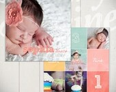 Baby Album Template: Watch Me Grow  - First Year Book Template for Photographers 10x10