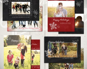 Christmas Card Templates: Blackboard Holiday - Set of 4 Holiday Card Templates for Photographers