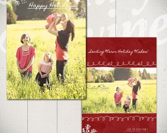 Christmas Card Template: Blackboard Holiday D - 5x7 Holiday Card Template for Photographers