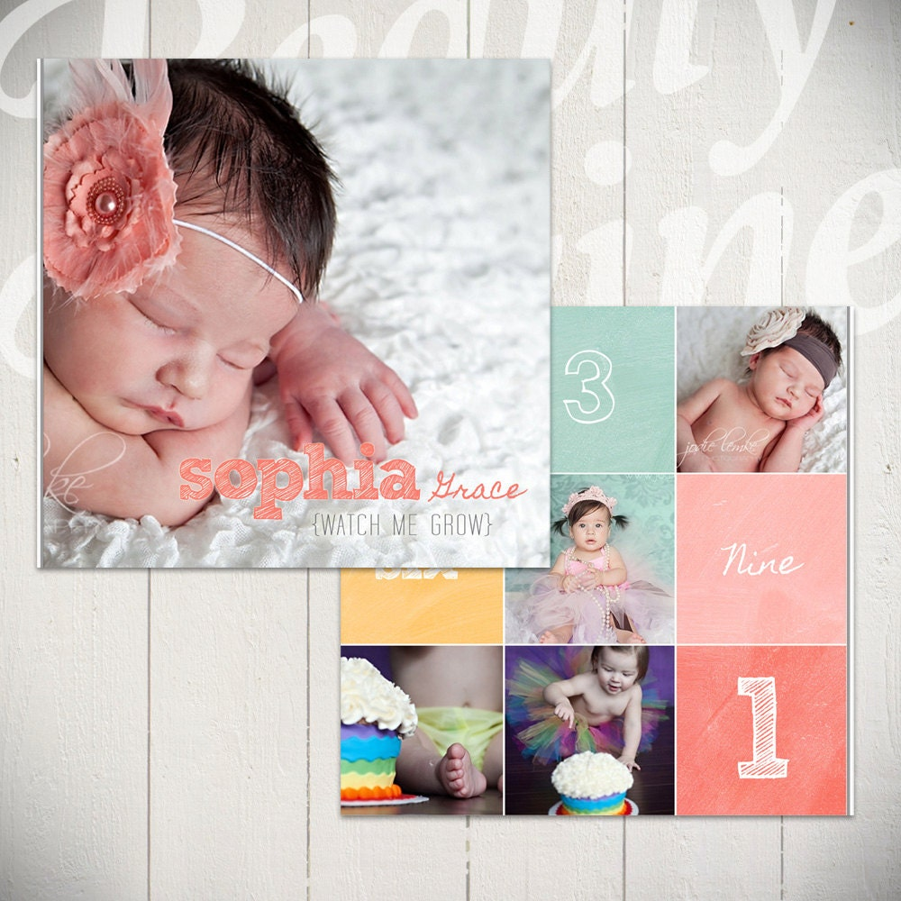 Photo Album Examples: Baby Album Template: Watch Me Grow First Year Book Template