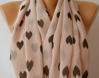 Heart Print Infinity Scarf Chiffon Teacher Gift Summer Circle Loop Scarf Gift Ideas For Her Women Fashion Accessories  best selling item