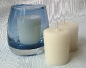 3 Pure Beeswax votive candles with a votive holder