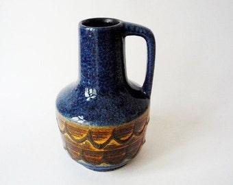 Vintage Blue VEB Haldensleben Fat Lava Vase