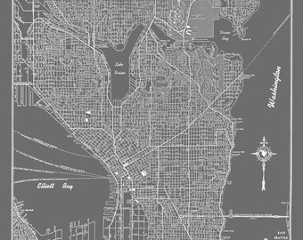 Seattle Map - Seattle Map Art Poster Gray- Seattle Street Map Print Poster