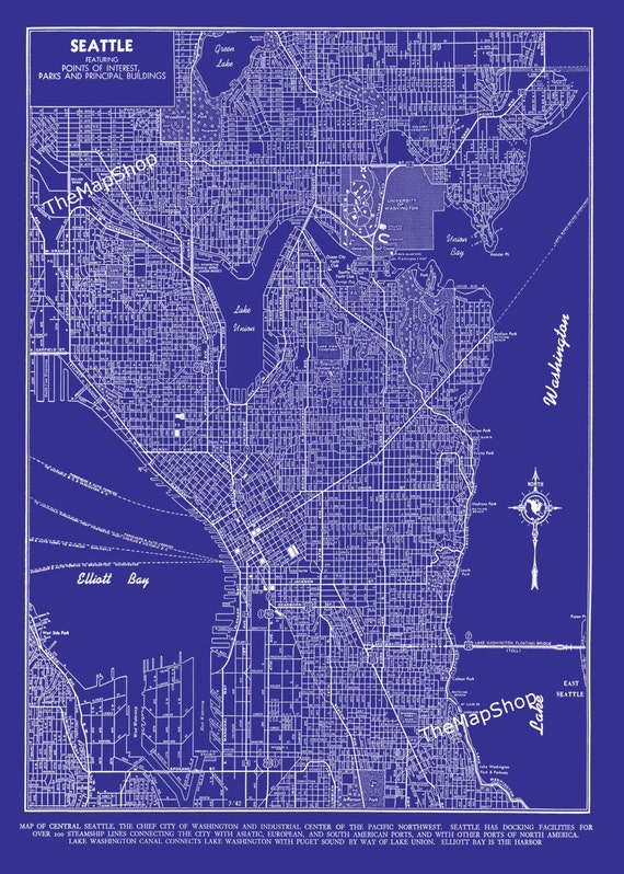 Seattle Map Seattle Blueprint Map Seattle Street Map