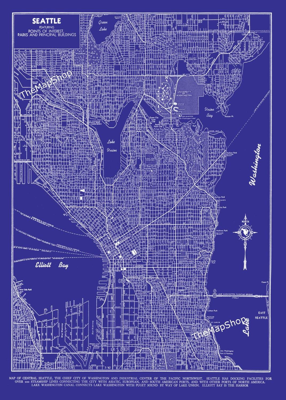 seattle map seattle blueprint map seattle street map