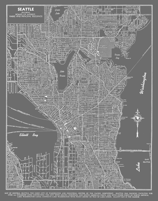 Seattle Map Seattle Map Art Poster Gray Seattle Street Map