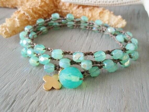 "Seafoam green crochet 3x wrap bracelet necklace 2x anklet ""Summer Glow"" aqua opal , gold vermeil cross clover, surfer beach bohemian"