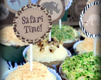 Safari Party Circles/Cupcake Toppers - INSTANT DOWNLOAD - Printable Birthday Decorations by Sassaby