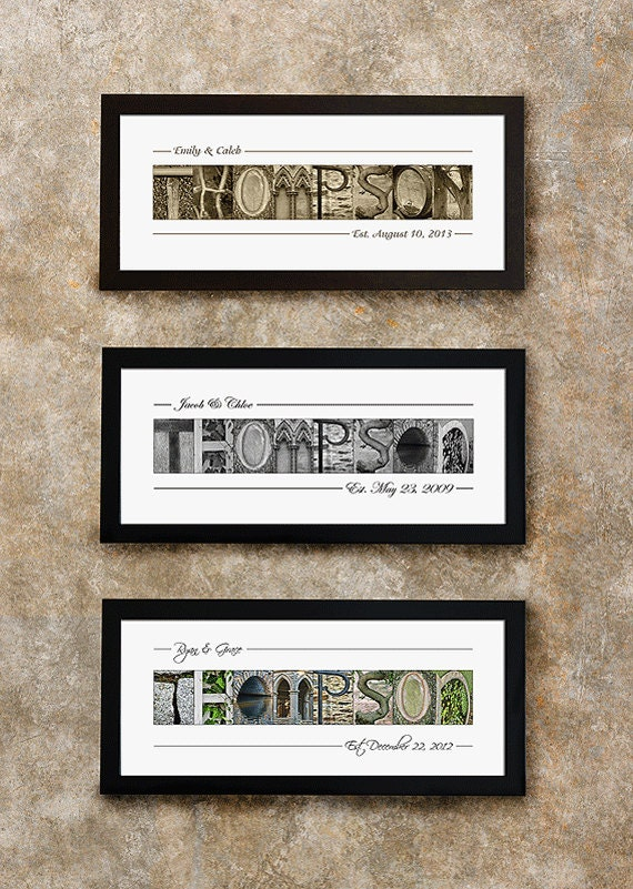 WEDDING GIFT IDEA for couples - Framed Family Name Sign, Wedding ...